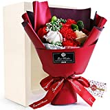 ソープフラワー プレゼント 母の日 花 造花 敬老の日 ギフト ボックス メッセージカード付き (赤)