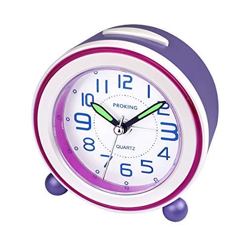 Wecker,Analoger Wecker Kinder, Kompakt Nicht Tickendes Bett Reise Silent Wecker mit Lautem Alarm, Nachtlicht, Snooze, Batteriebetriebene Weckuhr (Lila)