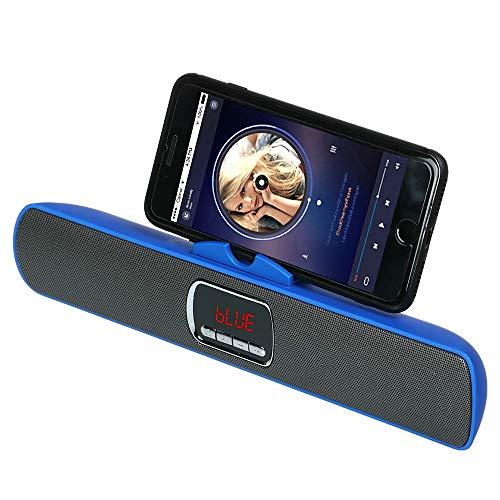KawKaw Bluetooth Speaker mit Mikrofon & Smartphone-Halterung - Kabellose Lautsprecher für Smartphone & Tablet - Wireless Portable Soundsystem für Musik, Party und Heimkino (Blau)