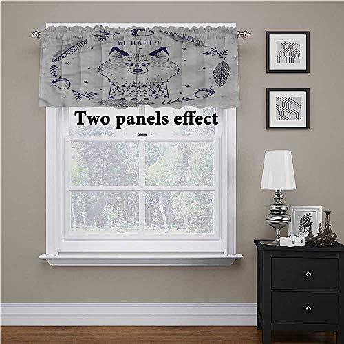 Cortina de cenefa de animales, zorro con corazones y vigas de bajo consumo energético para barra, cortina de bolsillo que añade un toque agradable a tu sala de estar, 56 x 16 pulgadas