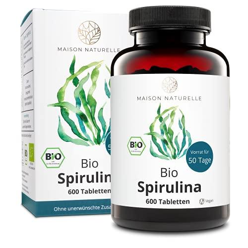 MAISON NATURELLE® Bio Spirulina Tabletten (600 Stück) - 100{ed63f05c74cb3c9f7b6aab5ccd4f1ba6149d2a8b2bb607d55c31a98734cb62ce} reine Bio Spirulina Alge ohne Zusätze - Hochdosiert mit 4.800mg Bio Spirulina je Tagesdosis - 100{ed63f05c74cb3c9f7b6aab5ccd4f1ba6149d2a8b2bb607d55c31a98734cb62ce} Vegan