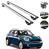Roof Rack Crossbars Fits Mini Cooper Countryman 2010-2016 | Luggage Kayak Cargo Hard-Shell Carrier | Aluminum Rooftop of Your Car or SUV | Silver 2 Pcs.