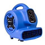 XPOWER P-230AT 1/5 HP 800 CFM 3 Speeds Mini Air Mover with 3-Hour Timer and Built-in Dual Outlets for Daisy Chain - Purple Blue