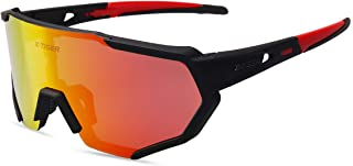 X-TIGER Polarized Sports Sunglasses with 3 or 5 Interchangeable Lenses,Mens Womens Cycling Glasses,Baseball Running Fishin...
