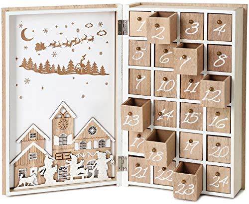 BRUBAKER Reusable Wooden Advent Calendar to Fill - Merry Christmas Book - DIY Christmas Calendar 7.72 x 2.95 x 11.81 inches