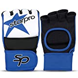 Starpro MMA Sparring Gloves Training - Grappling Muay Thai Kickboxing Martial Art Karate Combat Cage Fighting Punching Bag Boxing Mitts |PU Synthetic Leather Red Blue for Men and Women