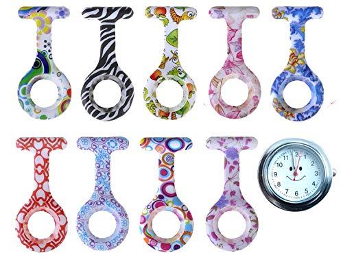 Schwesternuhr Schwesternuhren 9er DESIGN Set Tiga Med mit Qualitäts-Batterie (1x Uhr + 9 Design Silikonhüllen) Kitteluhr Krankenschwesteruhr