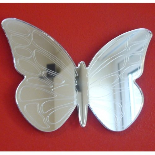 Papillon ailes grande horloge miroir - 25 cm x 20 cm