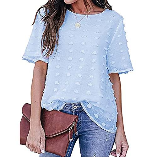 Camisa de Encaje de Gasa de Color sólido de Moda para Mujer Top Informal con Cuello Redondo