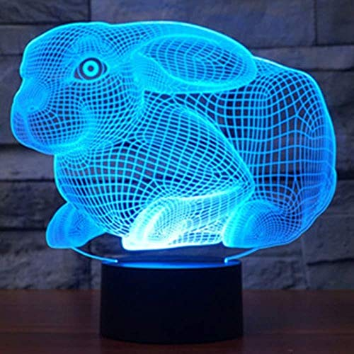 TIANXIAWUDI Square Rabbit 7 Colors Touch Cute Bunny Lamp/Touch Sensor Child Kids Baby Gift Night Light/Home Decor Lighting Rabbit LED Night Lights-Square Rabbit_Touch 7 colors