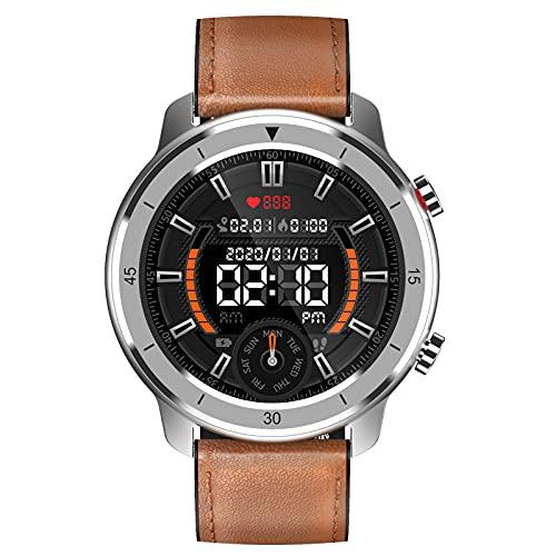 HQPCAHL Hombre Smartwatch Relojes Inteligentes Bluetooth recibe Llamadas, Fitness Reloj Deportivo con Pulsómetro, Monitor de Sueño 1.28'' de Reloj Deportivo con Podómetro para Android iOS,Brown a
