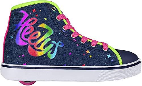 Heelys Veloz Schuhe mit Rollen, Blau Denim Rainbow Canvas, 34 EU