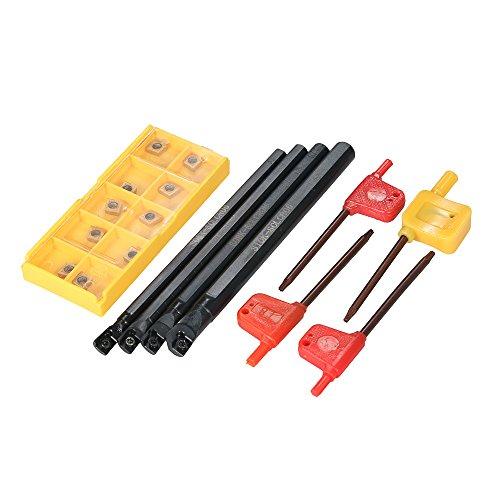 KKmoon 10 teile/schachtel CCMT060204-HM Hartmetalleins?tze + 6/7/8 / 10mm SCLCR06 Halter Bohrstange + 4 stücke Schraubenschlüssel CNC Drehmaschine Drehwerkzeug