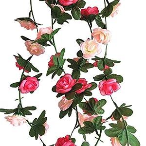 Boddenly Summer Flower Garland Fake Rose Vine Artificial Flowers Hanging Rose Ivy Hanging Baskets Wedding Arch Garden Background Decor