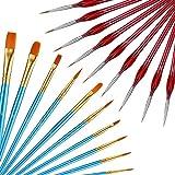 19 Piezas Conjunto de Pincel de Pintura, Incluyendo 9 Piezas Pinceles de Detalle Fino y 10 Piezas Cepillos Plano de Pelo de Nylon Pinceles de Artista para Pinceles Pintura Acrílica Fino Acuarela