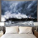 Hermoso atardecer playa ola gigante paisaje tapiz tela de pared arte tapiz hippie colgante de pared tela de fondo A3 73x95cm