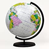 Jet Creations Educational Inflatable Globe Of The World - 12 Inch Blow Up Earth Ball With Stand For Kids - Large Accurate Political Map Desktop Globes - Giant Planet Earth Classroom Learning Toys For Children, Light Blue (GTO-12GOBX), 12' x 14'