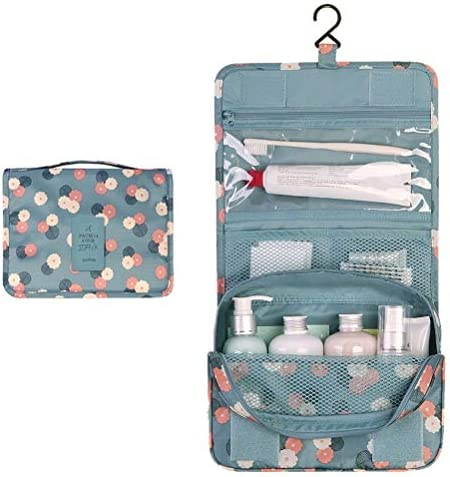 Toiletry Bag, Waterproof Hanging Cosmetic Bag Portable Travel Cosmetic Makeup Pouch Multifunction Handle Organizer Bag with Hook for Women Girls(Blue)