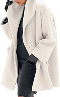 Macondoo Women's One Button Autumn Winter Mid Long Lapel Classic Woolen Coat Outwear