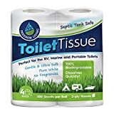 Freedom Living Septic Tank Safe Toilet Tissue (2-Ply, 4 Rolls, 500 Sheets each) For RV, Camping & Marine, Biodegradable,-Natural Alternative to Septic System Treatment Chemicals, Cleaner