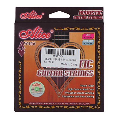 Alice .011-.052 Carbon Steel Core with Nickel Ball End Guitar Strings for 6 Strings Folk Acoustic Guitar Part-Super Light