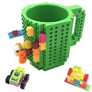 VANUODA Build-on Brick Mug, Tazza di caffè, Regali Originale per Uomo Lui Donna Mamma Bambini Amici Ragazzo, Idea Regalo per Natale Pasqua Festa del papà Compleanno, Compatibile con Lego (Verde)