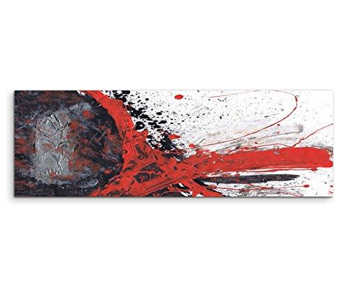Paul Sinus Art 150x50cm Panoramabild abstrakt Leinwanddruck Kunstdruck Wandbild rot schwarz grau weiß gemalt