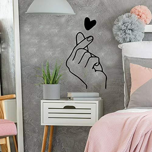 yaonuli Finger Herz Wandaufkleber Vinyl Aufkleber Beauty Salon Dekoration Wandtattoo Love Wallpaper 36X93cm