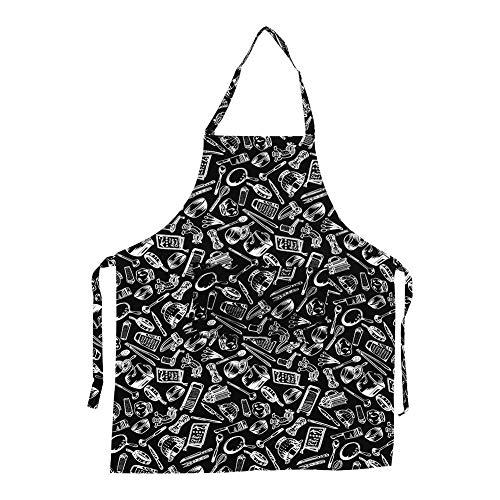 Delantal de Cocina Unisex con Cuello Ajustable, 5 patrones, para Hombres y Mujeres, Delantal con 2 bolsillos para la cocina, restaurante(#3 Cook Tools)