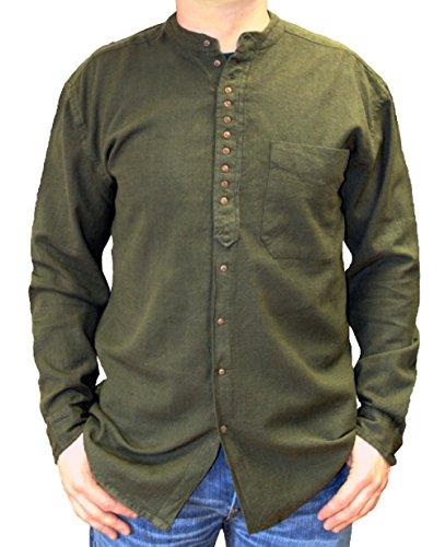 NADUR Stehkragenhemd - Irisches Stehkragenhemd - EW 13 Dark Army (3XL, Grün)