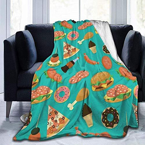"""DYJNZK Wohn-&Kuscheldecken,Amerikanischer Hamburger Fast Food Fleece Bettdecken Warme Flauschige Reversible Mikrofaser-Massivdecken Für Bett Und Couch 60\"""" X50"""