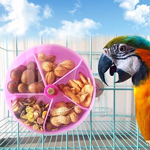 Celan Creative Foraging Systems Futterrad für Vögel, Papageien, Futterspender, Futtersuche, Spielzeug, Knabbereien, bissfest, Futterbox, Vogelfutter, Aufbewahrungsbehälter, 13 cm Durchmesser, Blau
