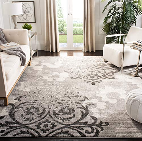 Safavieh Adirondack Collection ADR114B Floral Glam Damask Distressed Area Rug, 8' x 10', Silver / Ivory