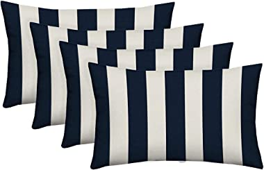 RSH Décor Set of 4 - Indoor/Outdoor Navy & White Cabana Stripe Decorative Rectangle Lumbar Throw/Toss Pillow - Choose Size and Choose Color