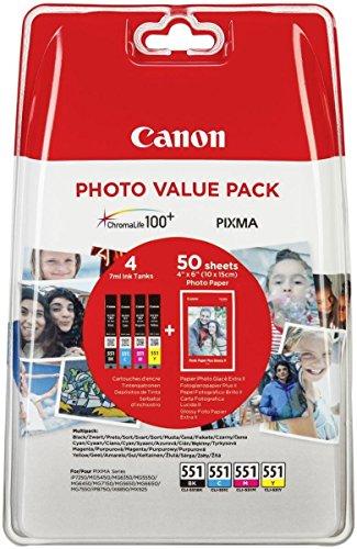 """Canon CLI-551 Cartuccia Originale Getto d'Inchiostro, 4 Pezzi, Nero/Ciano/Magenta/Giallo + 50 Fogli di Carta Fotografica Lucida 4"""" x 6"""""""