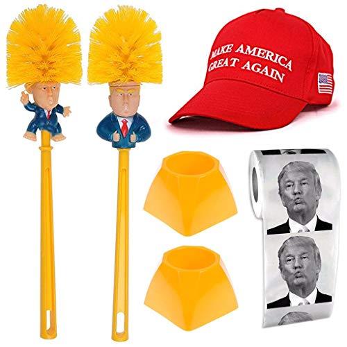 Mcree Trump WC-Set – 2 Donald Trump WC-Bürstenschüssel mit 2 Halterungen + 1 Rolle Trump Toilettenpapier + 1 Trump Sport Hut Kappe, machen Sie Toilette wieder großartig, Neuheit Präsident Geschenke