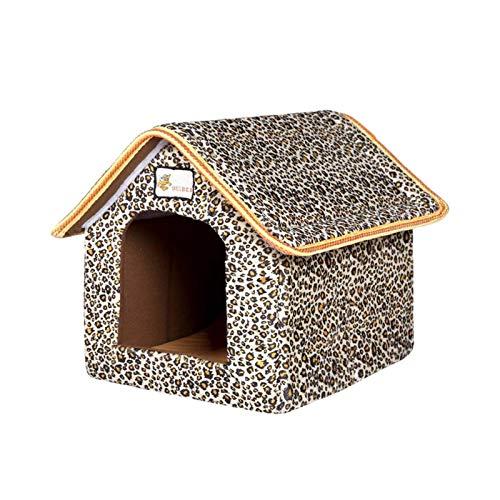 iBaste Katzenhaus Für Draußen Winterfest,Katzenhöhle,Katzenbett,Outdoor Pet House Leopardenmuster Wasserdichter Streunender Katzenschutz