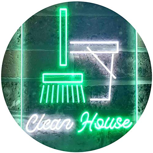 ADV PRO Clean House Helper Shop Display Dual Color LED Enseigne Lumineuse Neon Sign Blanc et Vert 400 x 600mm st6s46-i3605-wg