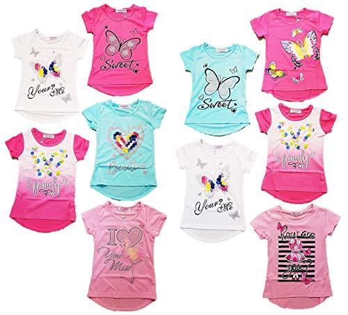 10er Pack Mädchen T Shirts Größe 98-158 (122-128)