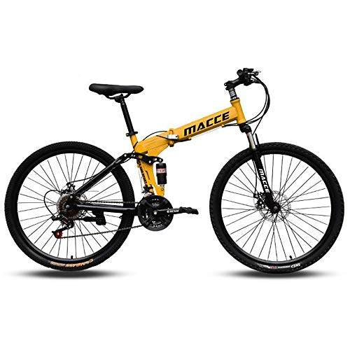 KAMELUN Mountain Bike, Men's Folding Bicycle 26 Inch High-Carbon Steel Hardtail Bike, Adult Can Quickly Fold The Bicycle Dual Disc Brake 27 Speed Full Suspension MTB,Yellow,24 inch