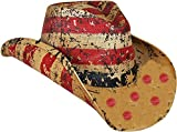 American Tea Stained Cowboy Hat, Vintage Straw USA Cowboy Hat with Stars & Stripes