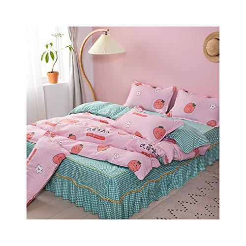 AmDxD, zomerdekbedovertrek, 120 x 200 cm, 4-delig, 1 x dekbedovertrek, 2 x kussenslopen van polyester met aardbeien, bloemetjes, klein roosterpatroon, met ritssluiting, zacht, pluizig (rozegroen, stijl 12)