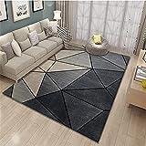 Alfombra dormitorios Juveniles Lavable Carpeta de diseño geométrico marrón Gris Negro Resistente a la decoloración Adornos Salon alfombras Infantil 120*170CM