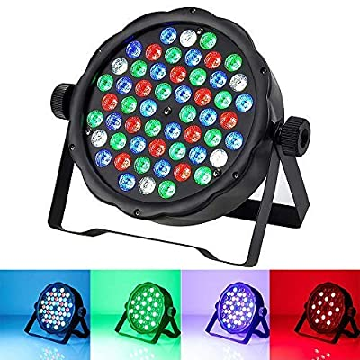 LED Stage Lights 54 LED DJ PAR Light Color Magic Effect Mixing Wash Light RGBW DMX 512 Stage Lighting Disco Projector for Home Wedding Birthday Festival Party Church Concert Dance Floor Lighting