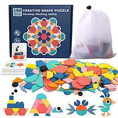 Pattern Blocks, 180 Pcs Wooden Tangrams Pattern Blocks for Kids Geometric Manipulative Shape Puzzle Kindergarten Classic Educational Montessori Tangram Toys for Toddlers Gifts, 24 Pcs Design Cards