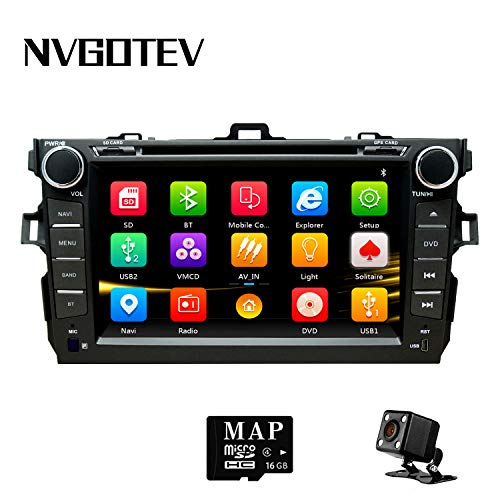 NVGOTEV Car Stereo Headunit Fits for Toyota Corolla 2007 2008 2009 2010 2011 DVD Player Radio 8 Inch HD Touch Screen GPS Navigation with Bluetooth Steering Wheel Control 16GB Map Card