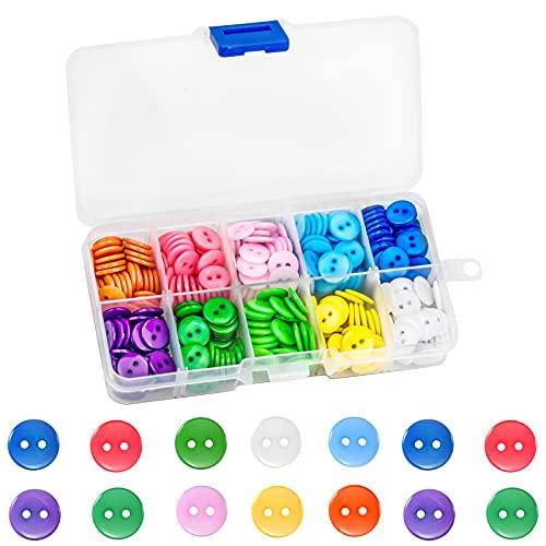 CXtech 350PCS botones de costura de 11 mm, botones redondos de resina de colores surtidos con caja de almacenamiento, para proyectos de manualidades, tejido, ganchillo, camisa para niños (2 agujeros)