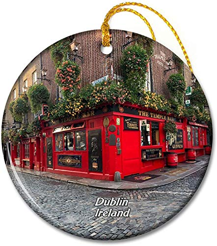 Ireland Temple Bar Dublin Ornaments 2.8 inch Ceramic Round Holiday Ornament Pandent for Family Friends