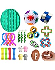 AM ANNA Sensory Fidget Toys Set,26 Pack Simple Dimple Fidgets Toy for Kids Adults Stress Relief and Adult Anxiety Relief ADHD Autism Therapy Figetget Fidgeting Game
