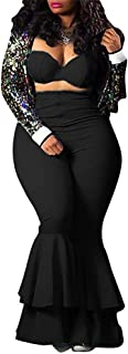 Women's Sexy Two Piece Outfits Cute Off Shoulder Crop Tube Top High Waist Zip Up Bell Bottoms Flare Pants Set